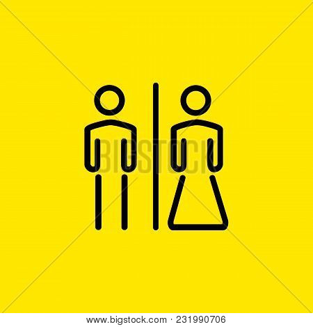 Line Icon Of Wc Male And Female Symbols. Couple, Unisex, Public Toilet. Water Closet Concept. Can Be