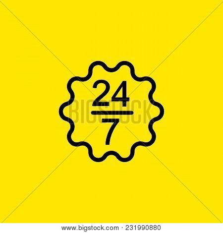 Icon Of Working Twenty-four Seven. Regular, Constant, Nonstop. Lifestyle Concept. Can Be Used For To