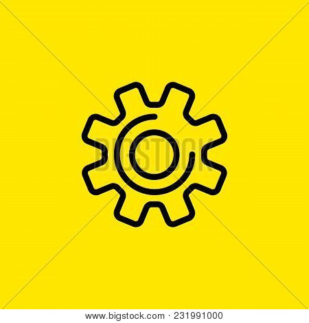 Icon Of Mechanical Process. Gear Wheel, Cog, Technical. Engineering Concept. Can Be Used For Topics