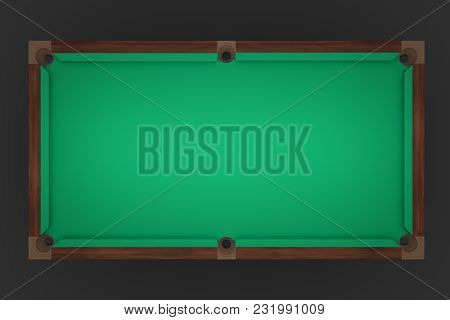 3d Rendering Of An Empty Billiard Table In A Top View Showing Its Green Felt Cover. Game Start. Leis