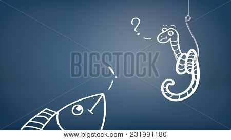 A White Drawing Of A Fish Trying To Catch A Worm On A Hook With An Exclamation And A Question Signs