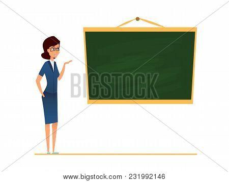 Teacher, Mentor Or Coach Standing In Front Of Blank School Blackboard. Vector Illustration. Female T