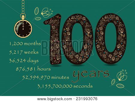 Floral Card Number One Hundred And Pocket Watch