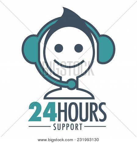 24 Hours Support Promotional Emblem With Man In Headset. Online Information On Any Time Advertisemen