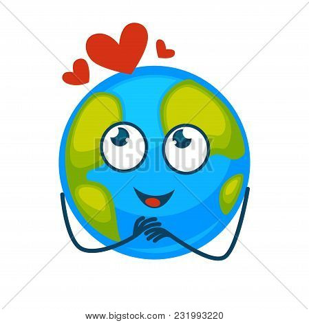 Earth Planet With Adorable Face, Friendly Smile And Red Hearts Above. Globe In Romantic Mood With Bi