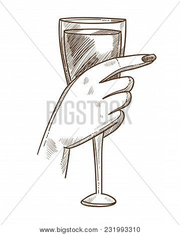 Glass Of Exquisite Wine In Tender Female Hand. Womans Hand Holds Fragile Elegant Wineglass Full Of L