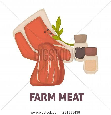 Farm Meat With Salt And Paper Promotional Poster. Butchery Products Of High Quality With Condiments