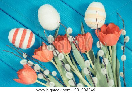 Vintage Photo, Fresh Red Tulips, Easter Catkins And Eggs Wrapped Woolen String On Boards, Festive De