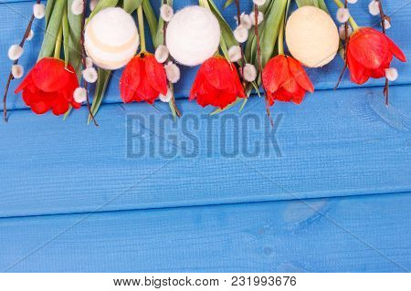 Fresh Red Tulips, Catkins And Eggs Wrapped Woolen String On Boards As Festive Easter Decoration, Cop