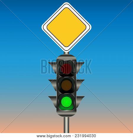 Traffic Light, Sign Main Road. Vector Illustration