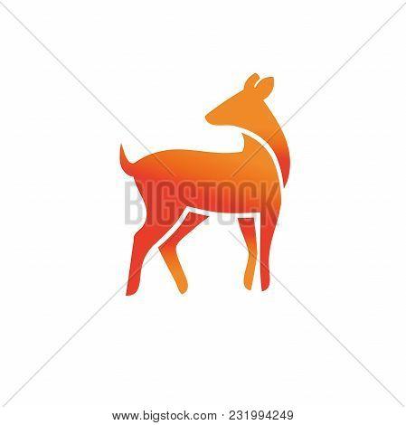 Animal Wild Deer Logo Sign, Hand Drawn Design For Nature Park Emblem. Decorative Monochrome Vector I
