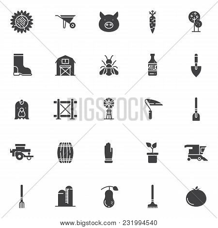 Agriculture Elements Vector Icons Set, Modern Solid Symbol Collection, Filled Style Pictogram Pack.