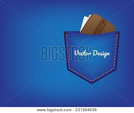 Jeans Pocket With Yellow Seam. Wallet With Money In Jeans Pocket. Flat Design.