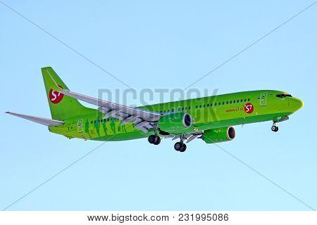 Novyy Urengoy, Russia - March 18, 2018: S7 Airlines Boeing 737 Arrives To The Novyy Urengoy Internat