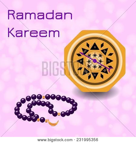 Ramadan Kareem. Concept of a Islamic holiday. Chaplet from 33 beads and compass. On a pink background with blur poster