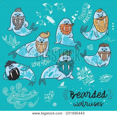 Bearded Walruses Set Isolated On Blue Background. Vector Cartoon Characters Of Funny Walruses With D