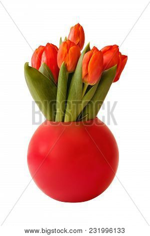 Bouquet Of Fresh Tulips In Vase Isolated On White Background