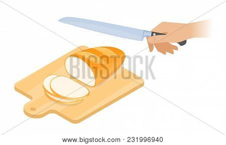 Flat Isometric Illustration Of Cutting Board, A Loaf Of Bread, Kitchen Knife. Sliced Pieces Of Bread