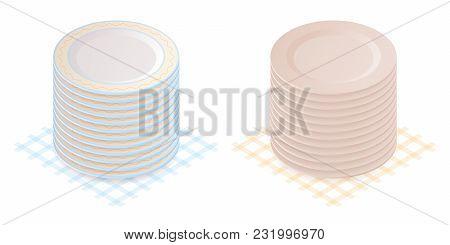 Flat Isometric Illustration Of Pile Of Porcelain Plates. Household Dishware Isolated On White Backgr
