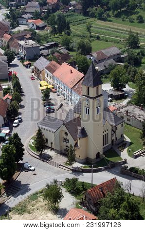 KRASIC, CROATIA - JUNE 22: Parish church of the Holy Trinity in Krasic, Croatia on June 22, 2007