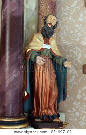 VRHOVAC, CROATIA - JULY 02: Statue of Saint on the altar of the Three Kings in Saints Cosmas and Damian church in Vrhovac, Croatia on July 02, 2016.
