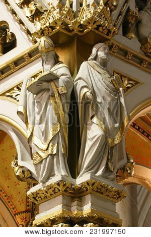 ZAGREB, CROATIA - AUGUST 16: Doctors of the Church, statues on the main altar in Zagreb cathedral dedicated to the Assumption of Mary in Zagreb on August 16, 2017.