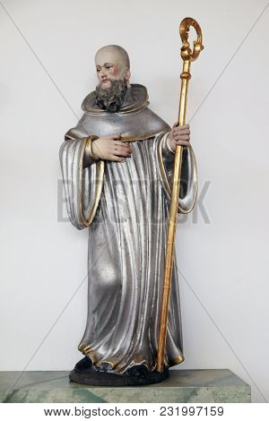 LEUTERSHAUSEN, GERMANY - JULY 05: Statue of Saint in the Church of Saint Bartholomew in Leutershausen, Germany on July 05, 2017.