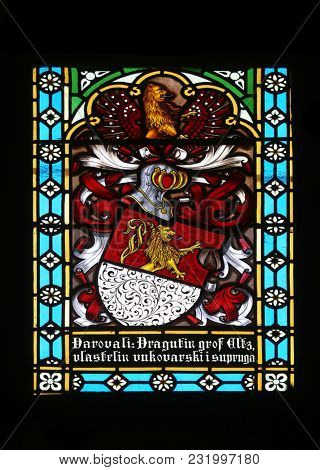 ZAGREB, CROATIA - APRIL 07: Coat of arms of the Counts of Eltz, stained glass in Zagreb cathedral dedicated to the Assumption of Mary in Zagreb on April 07, 2015