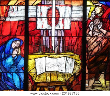 LEUTERSHAUSEN, GERMANY - JULY 05: History of salvation, stained glass window by Sieger Koeder in church of Saint Bartholomew in Leutershausen, Germany on July 05, 2017.