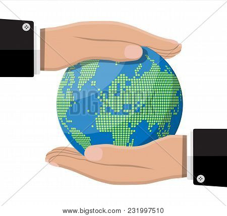 World Map Silhouette. Globe In Hand. Planet Earth. Cartography And Geography. Vector Illustration