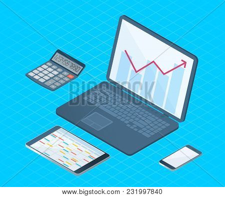 Flat Right Top View Isometric Illustration Of Office Desktop Electronic Equipment. Business And Scho
