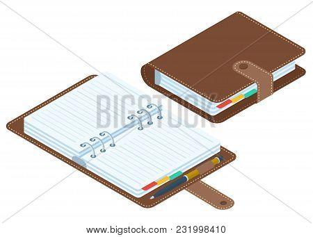 Flat Isometric Illustration Of Closed And Opened Planners. Business Personal Accessory Isolated On W