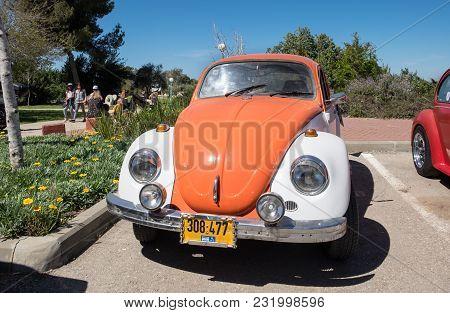 Beit Nir, Israel - March 17, 2018: Volkswagen Beetle Vintage Car Presented On Oldtimer Car Show, Isr