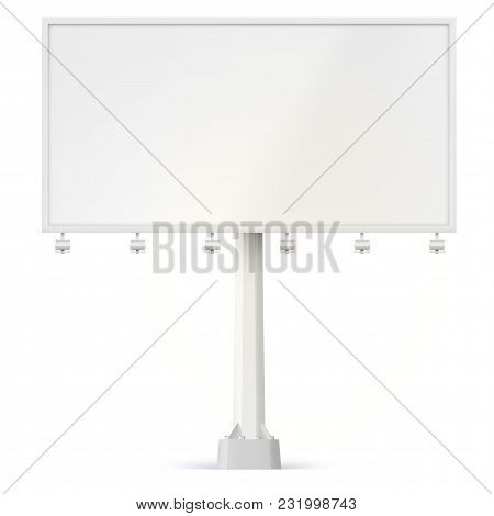 Blank Billboard, Front View With Lamps And The Support Bolted To The Base. 3d Illustration Isolated