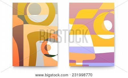 Abstract Backgrounds For Cafe Menu. Retro Design Templates For Restaurant Menu Card. Set Of Cards Fo
