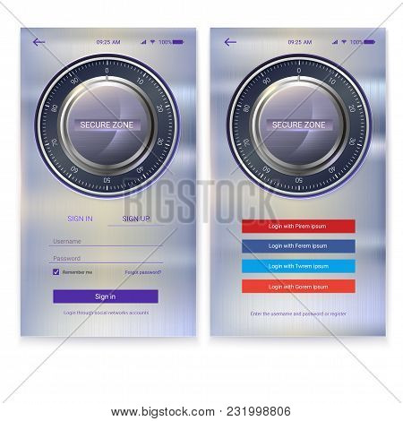 Security Application Ui Design On Metal Background. Account Authorization, Interface For Touchscreen