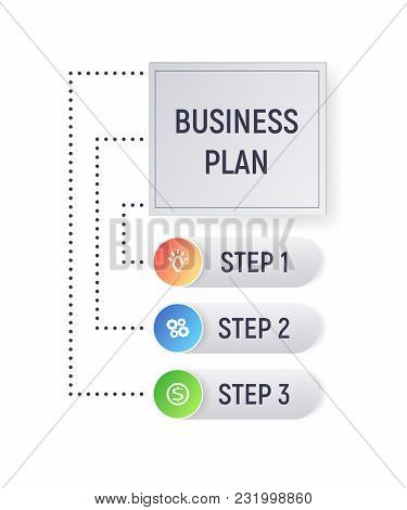 Infographics Concept Business Plan. Diagram With Steps. Modern Vector Illustration.