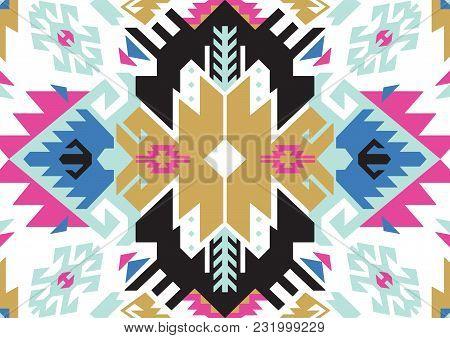 Geometric Ethnic Oriental Turkish Seamless Pattern. Bohemian Style. Traditional Design For Backgroun