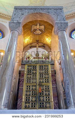 ZAGREB, CROATIA - NOVEMBER 30: Tabernacle on the main altar in Saint Blaise church in Zagreb, Croatia, on November 30, 2016.