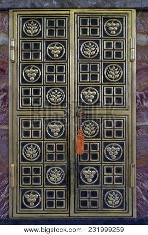 ZAGREB, CROATIA - NOVEMBER 30: Door of tabernacle on the main altar in Saint Blaise church in Zagreb, Croatia, on November 30, 2016.