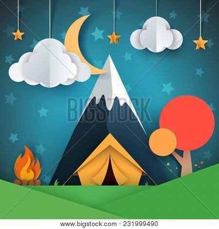 Cartoon Paper Landscape. Tree, Mountain, Fire, Tent, Moon Cloud Star Illustration Vector Eps 10