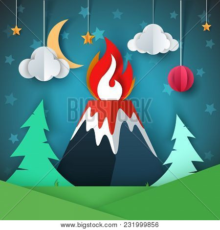 Volcano Illustration. Cartoon Paper Landscape. Vector Eps 10