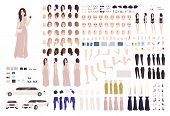 Elegant woman dressed evening prom clothing creation set or DIY kit. Collection of body parts, facial expressions, postures. Female cartoon character. Front, side, back views. Vector illustration poster