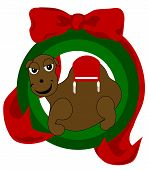 """""""Christmas Camel Ornament?is adorned in an ornament style frame and beautiful ribbon and is original artwork. poster"""