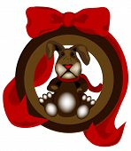 """Christmas Bunny Ornament?is a classic rabbit adorned in an ornament style frame and a beautiful ribbon and is original artwork. poster"