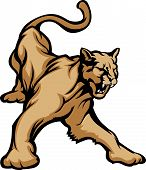 Graphic Mascot Vector Image of a Cougar Growling poster