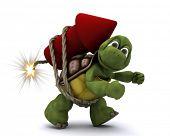 3d render of Tortoise lighting a firework poster