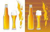 amber-coloured beer bottle and mug light beer poster