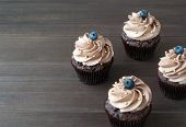 Chocolate cupcakes with whipped chocolate cream, decorated fresh blueberry, gold confectionery sprinkling on dark wooden table. Picture for a menu or a confectionery catalog. poster