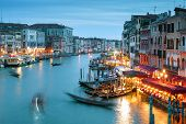 Grand Canal, shot with a long exposure, Venice at night, Italy. Venice nightlife. Beautiful panoramic view of night Venice. Romantic water trip in Venice. poster